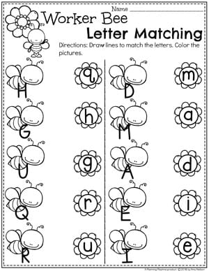 Letter Matching Worksheets for a Preschool Bug Theme #preschool #bugs #bugworksheets #preschoolworksheets #springworksheets #lettermatching