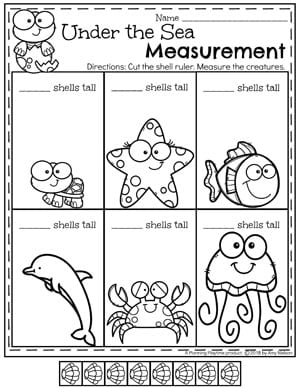 measurement worksheets  planning playtime  measurement worksheets for kindergarten math  under the sea ruler  kindergartenmath measurement mathworksheets