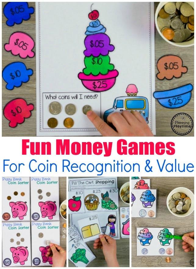 Money Activities for Kids. Kindergarten math #kindergartenmath #kindergarten #kindergartencenters #coinrecognition