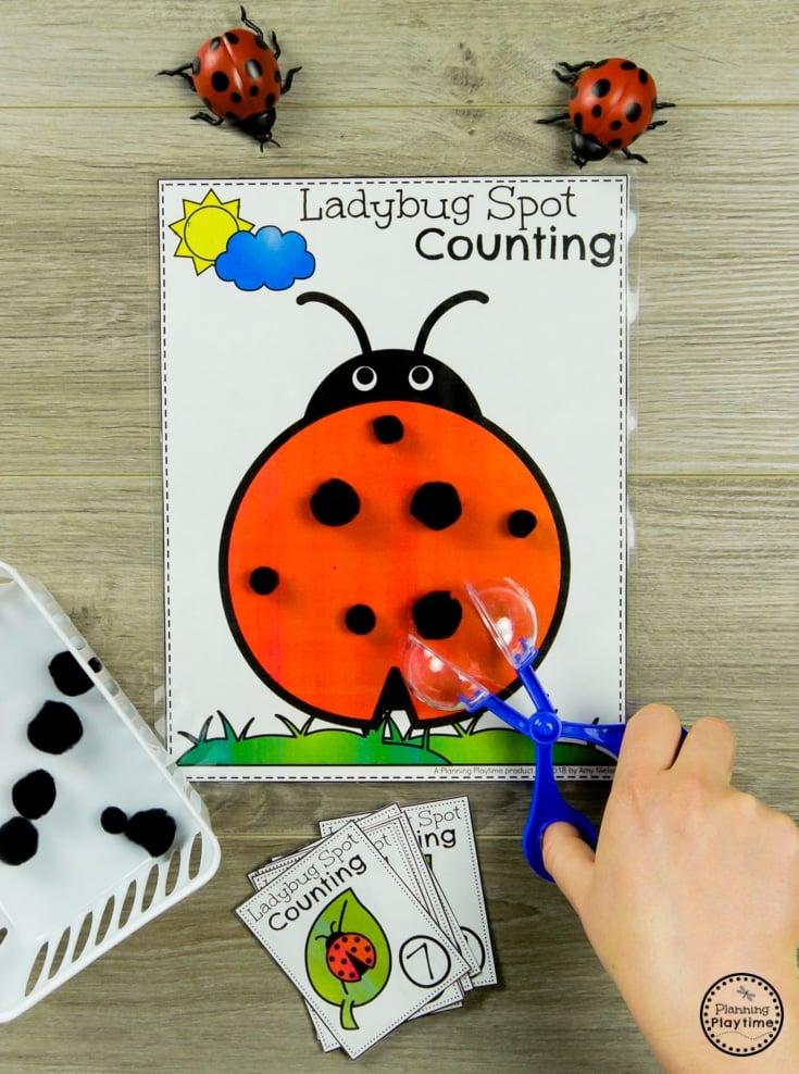 Preschool Bug Activities - Ladybug Fine Motor Counting #preschool #bugs #bugtheme #bugactivities #preschoolactivities #counting