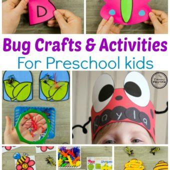 Preschool Bug Crafts and Activities for Kids. #preschool #bugs #bugtheme #bugactivities #preschoolactivities