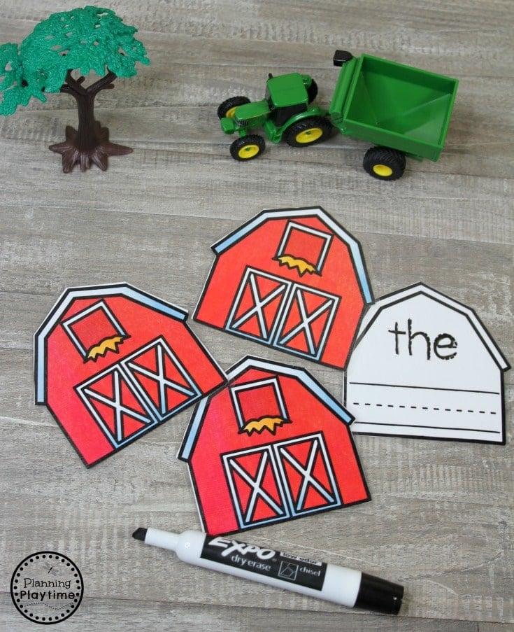 Preschool Farm Activities Sight Words Practice #preschool #farmtheme #springpreschool #preschoolgames #preschoolfun #sightwords