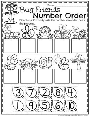 Preschool Number Order Worksheet for Spring - Preschool Bug Theme #preschool #bugs #bugworksheets #preschoolworksheets #springworksheets #countingworksheets #mathworksheets