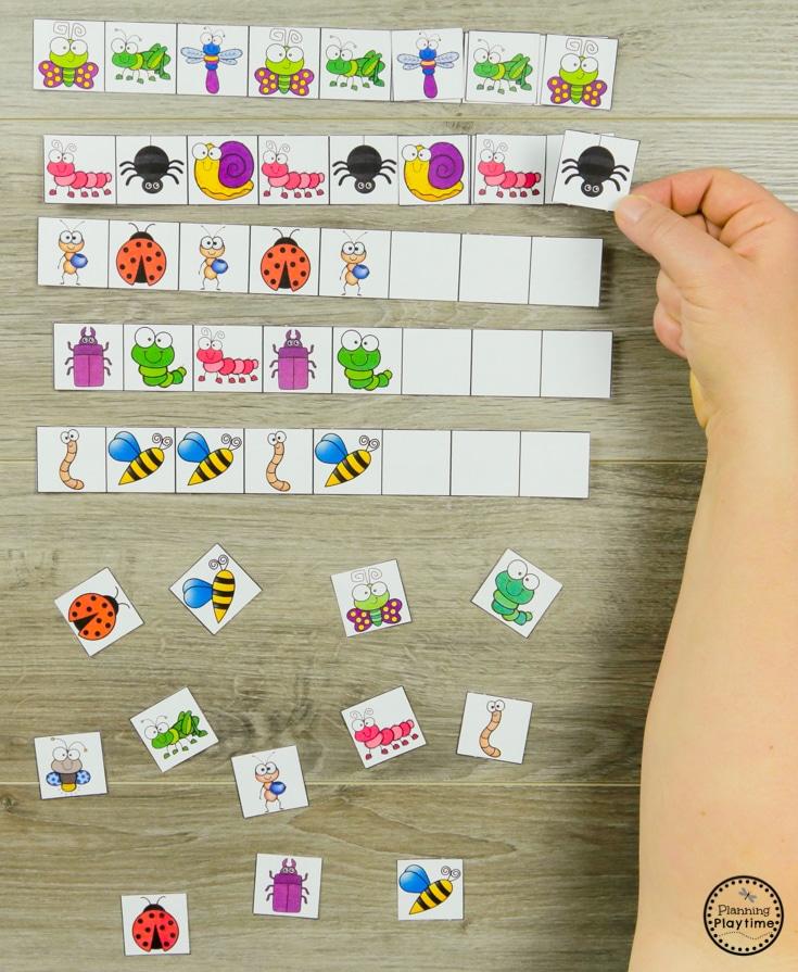 Preschool Patterns Activities - Bug Activities for Spring #preschool #bugs #bugtheme #bugactivities #preschoolactivities #preschoolpatterns