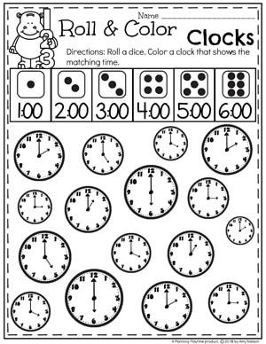 Roll and Cover Clocks - Time telling Worksheets for kids. #kindergartenmath #kindergarten #kindergartencenters #tellingtime #timeworksheets #tellingtimeworksheets