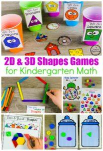 Shapes Worksheets and Games for Kindergarten Math #kindergarten #kindergartenmath #shapes #geometry #kindergartenworksheets #mathgames #planningplaytime