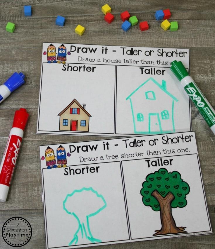 Shorter or Taller Measurement Activity for Kindergarten math. #kindergartenmath #measurement