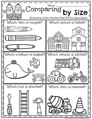 Size and Measurement Worksheets for Kindergarten Math. #kindergartenmath #measurement #mathworksheets #kindergartenworksheets #measurementworksheets