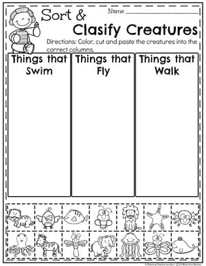 Sort and Clasify Measurement Worksheets for Kindergarten Math #kindergartenmath #measurement #mathworksheets #kindergartenworksheets #measurementworksheets