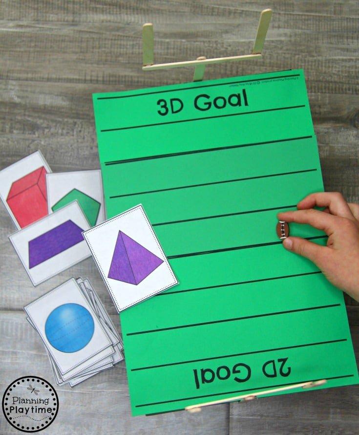 Sorting 2D and 3D Shapes - Kindergarten Shapes Math Game #kindergarten #kindergartenmath #shapes #geometry #kindergartenworksheets #mathgames #planningplaytime