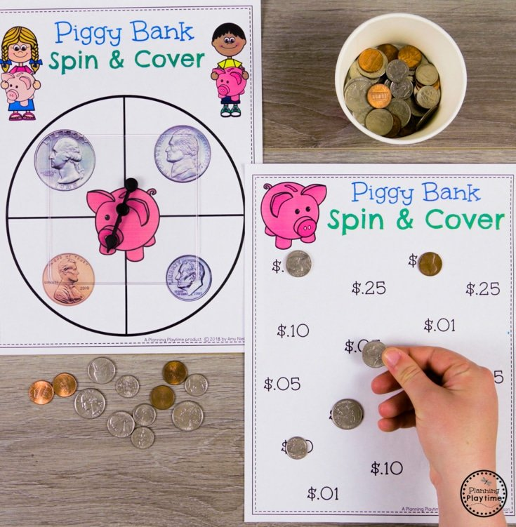Spin and Cover Money Game for Kids #kindergartenmath #kindergarten #kindergartencenters #coinrecognition