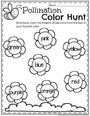 Spring color Worksheets for Preschool - Preschool Bug Theme #preschool #bugs #bugworksheets #preschoolworksheets #springworksheets #colorworksheets