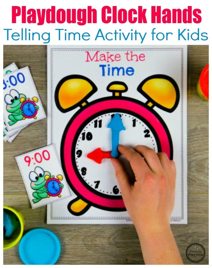 Telling Time Game with Playdough Clock hands #kindergartenmath #kindergarten #kindergartencenters #tellingtime