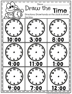 Telling Time Worksheets - On the Hour #kindergartenmath #kindergarten #kindergartencenters #tellingtime #timeworksheets #tellingtimeworksheets