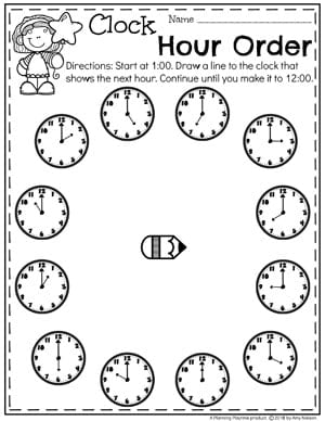 Telling Time on the Hour - Time Worksheets for Kindergarten #kindergartenmath #kindergarten #kindergartencenters #tellingtime #timeworksheets #tellingtimeworksheets