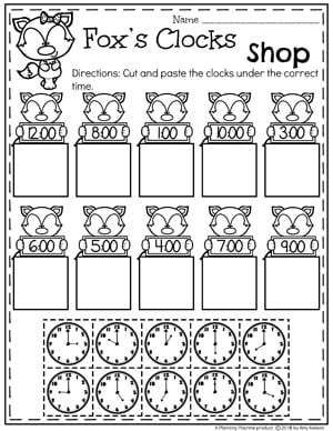 Telling Time worksheets Cut and Paste Clocks #kindergartenmath #kindergarten #kindergartencenters #tellingtime #timeworksheets #tellingtimeworksheets