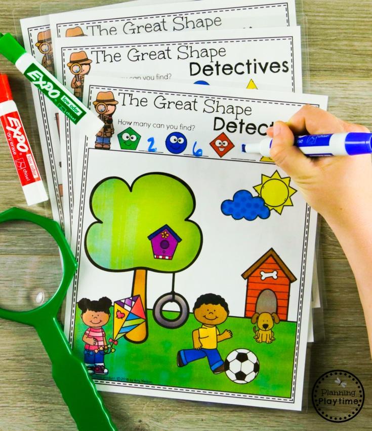 The Great Shape Detectives - Kindergarten Shapes Games #kindergarten #kindergartenmath #shapes #geometry #kindergartenworksheets #mathgames #planningplaytime