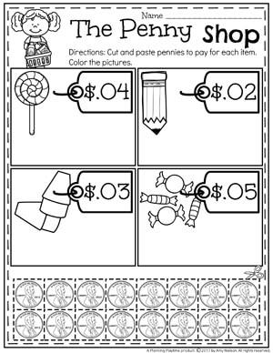 The Penny Shop Money Worksheets for Kindergarten #kindergartenmath #kindergarten #kindergartencenters #coinrecognition #moneyworksheets