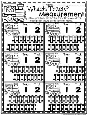 Train Track Measurement and Comparing Data - Kindergarten Math Worksheets #kindergartenmath #measurement #mathworksheets #kindergartenworksheets #measurementworksheets