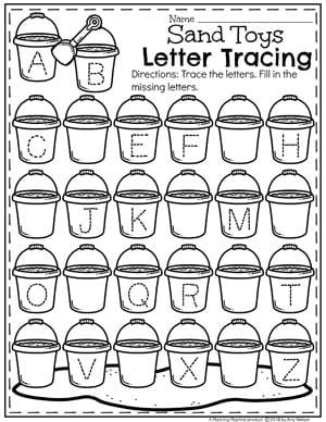 Alphabet Tracing Worksheets for Preschool - Summer Theme #alphabetworksheets #preschool #summerpreschool #preschoolprintables #preschoolworksheets #planningplaytime