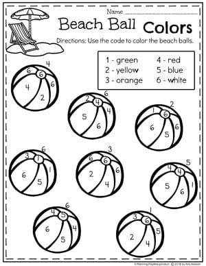 Beach Ball Colors - Summer Preschool Worksheets #preschool #summerpreschool #preschoolprintables #preschoolworksheets #planningplaytime #colorbynumber