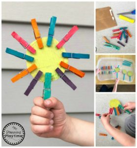 Clothespin Crafts for Preschool - Flower Petal Patterns and Fine Motor skills #clothespincrafts #flowercrafts #preschoolcrafts #planningplaytime