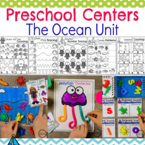 Preschool Ocean Theme - Centers and Worksheets #preschool #preschoolworksheets #oceantheme #planningplaytime