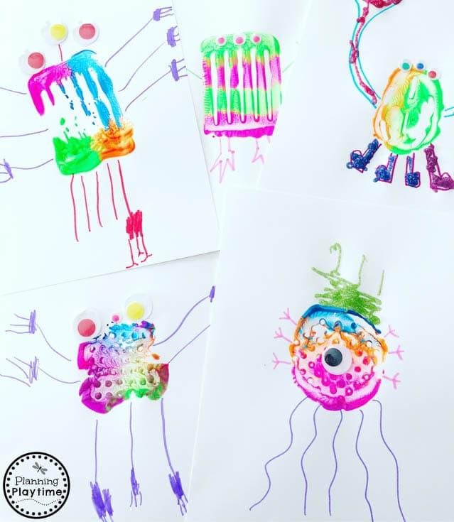 Cute Monster Art for kids made with kitchen utensils (9) #monstercrafts #preschoolcrafts #kidscrafts #processart #preschoolart #planningplaytime