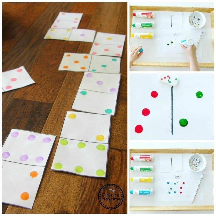 DIY Giant Floor Dominos #dominoes #dominoesgame #mathgame #kindergarten #preschool