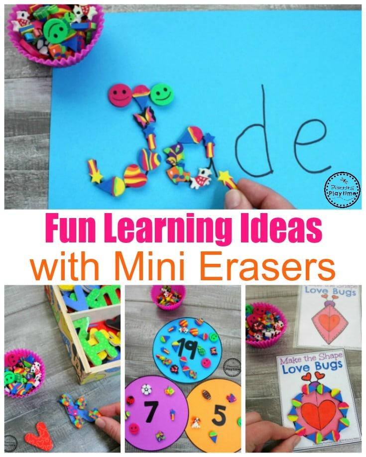 Fun Learning Games with Mini Erasers #preschool #minierasers #kindergarten #funlearning #planningplaytime