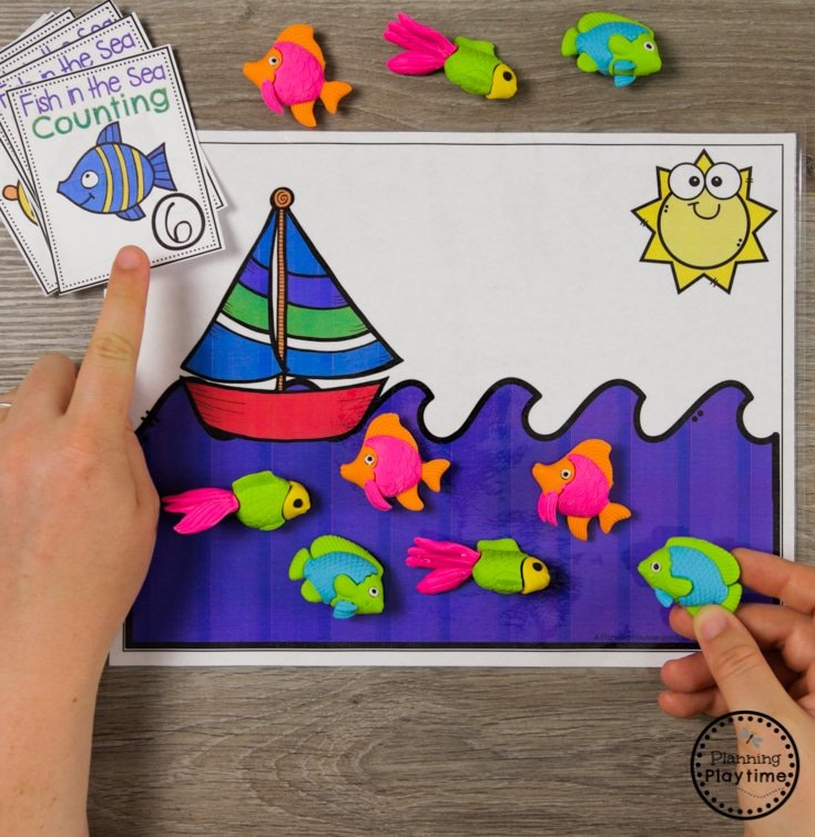 Fun Ocean Counting Activity for Preschool #counting #preschool #oceantheme #preschoolactivities #preschoolcenters #planningplaytime