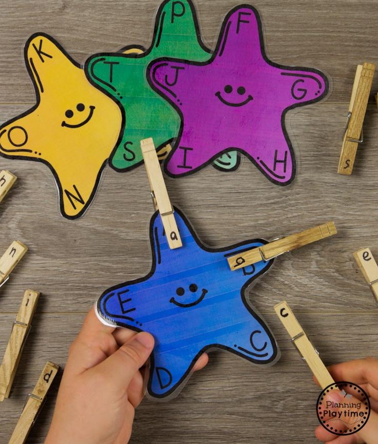Letter Matching Games for Preschool #preschool #oceantheme #preschoolactivities #preschoolcenters #planningplaytime