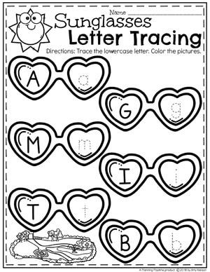 Letter Tracing Worksheets for Preschool - Summer Theme #preschool #summerpreschool #preschoolprintables #preschoolworksheets #planningplaytime #lettermatching