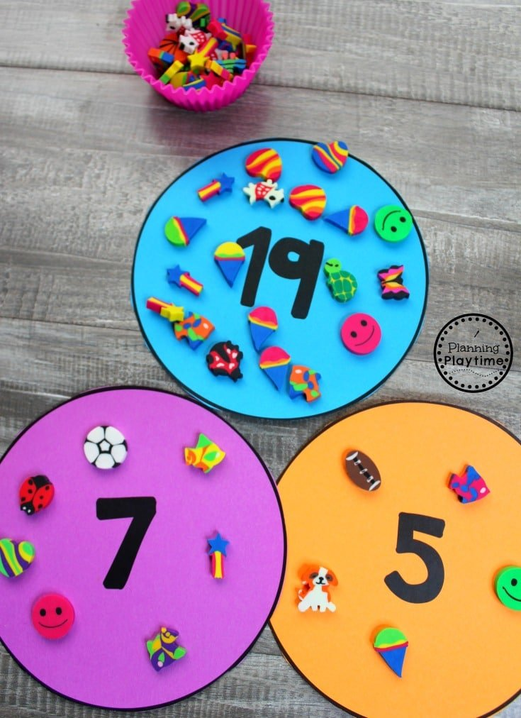 Mini Erasers Counting Activity #preschool #minierasers #kindergarten #funlearning #planningplaytime #counting