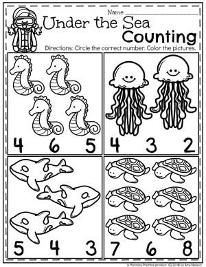 Ocean Preschool Worksheets - Counting #preschool #oceantheme #preschoolactivities #preschoolworksheets #planningplaytime #countingworksheets