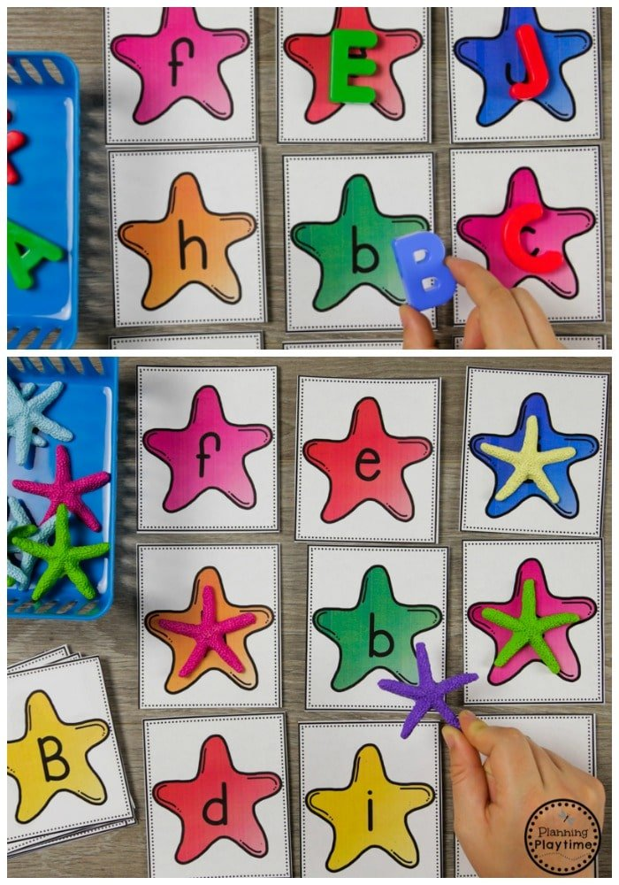 Ocean Theme Alphabet Activities for Preschool #alphabet #letterrecognition #preschool #oceantheme #preschoolactivities #preschoolcenters #planningplaytime