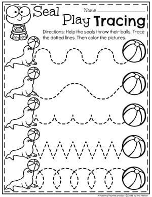 Ocean theme Preschool Worksheets - Tracing #preschool #oceantheme #preschoolactivities #preschoolworksheets #planningplaytime #tracingworksheets