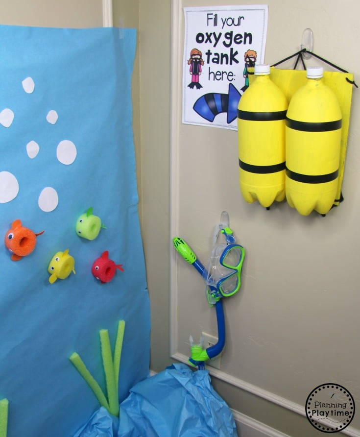 Preschool Dramatic Play for an Ocean theme. DIY Diver Tank Craft #preschool #dramaticplay #underthesea #oceantheme