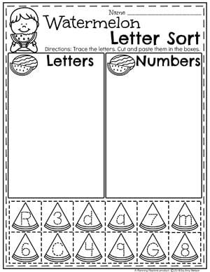 Preschool Letter Sorting Worksheets for Summer #preschool #summerpreschool #preschoolprintables #preschoolworksheets #planningplaytime