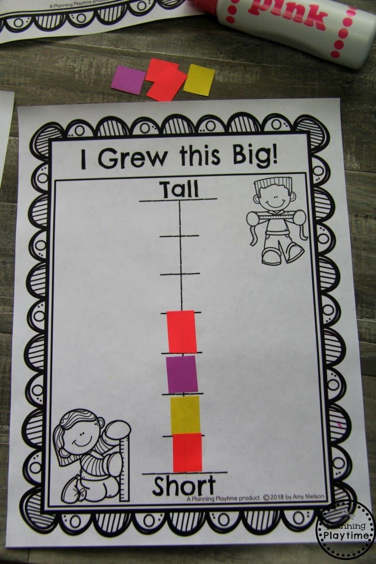Preschool Memory Book - How tall kids think they are. #preschool #kindergarten #memorybook