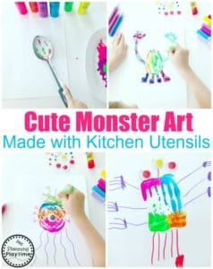 Preschool Process Art - Monster Craft for Kids #monstercrafts #preschoolcrafts #kidscrafts #processart #preschoolart #planningplaytime