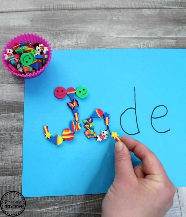 Preschool Name Activity with Mini Erasers #preschool #minierasers #kindergarten #funlearning #planningplaytime #namewriting