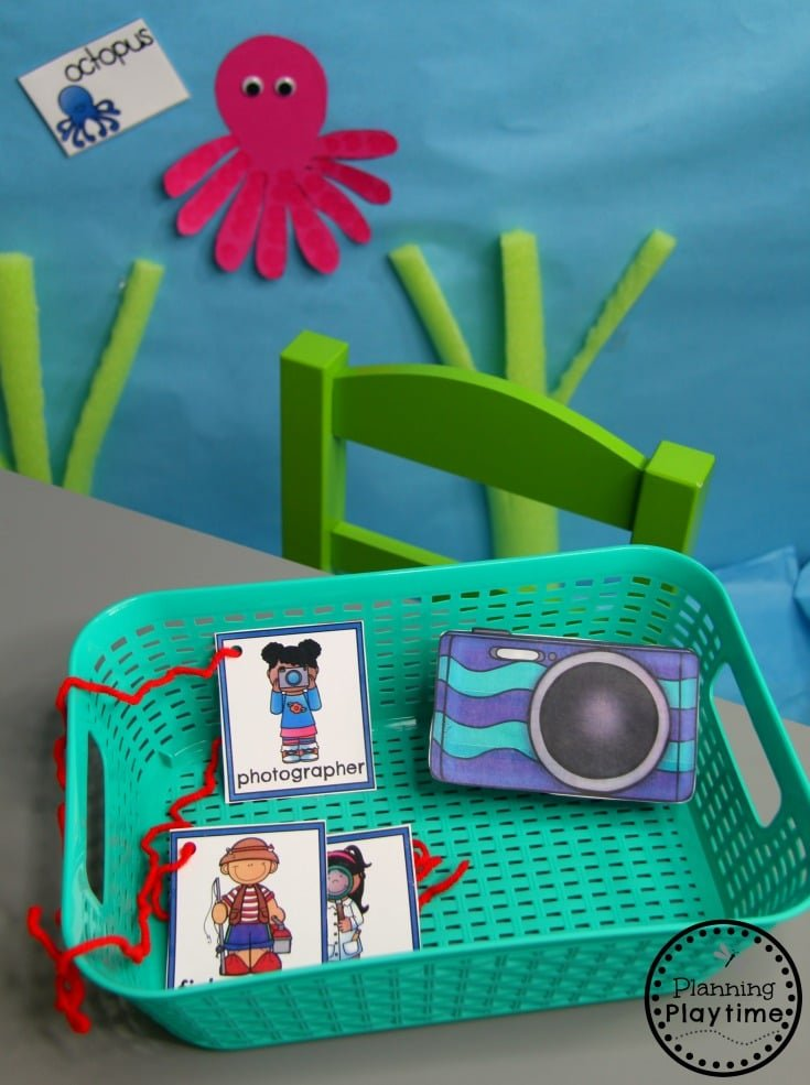 Preschool Ocean Theme Dramatic Play Centers - Nametags and Juice box Camera #preschool #dramaticplay #underthesea #oceantheme