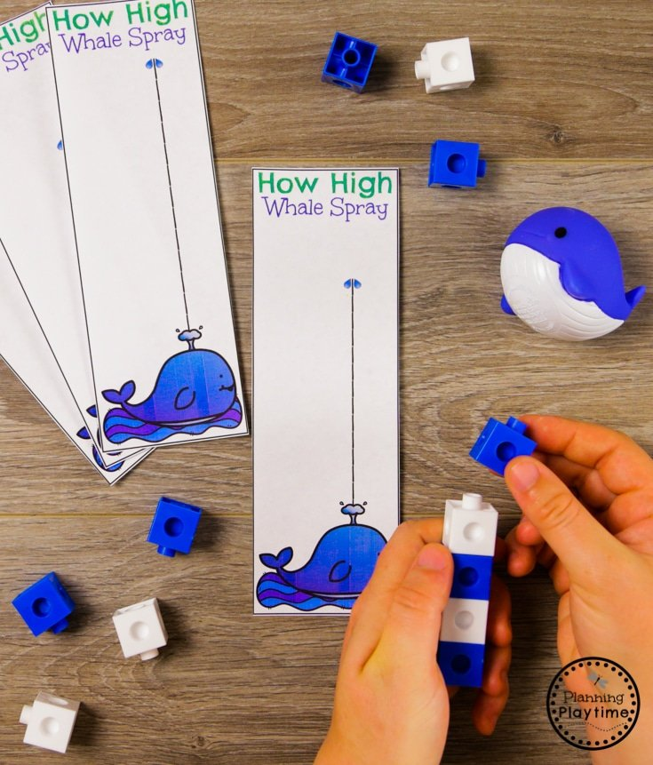 Preschool Ocean Theme Measurement Activity #preschool #oceantheme #preschoolactivities #preschoolcenters #planningplaytime #measurement