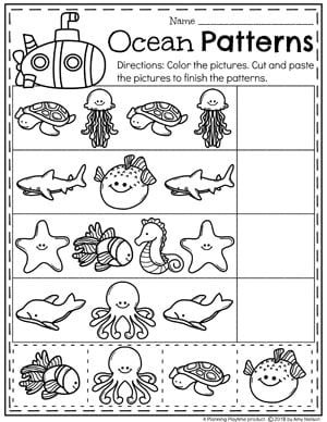 Preschool Ocean Theme Patterns Worksheet #preschool #oceantheme #preschoolactivities #preschoolworksheets #planningplaytime #patterns