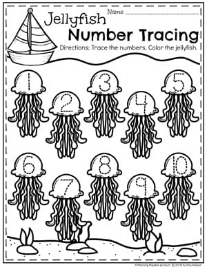Preschool Ocean Theme Worksheets - Number Tracing Jellyfish #preschool #oceantheme #preschoolactivities #preschoolworksheets #planningplaytime