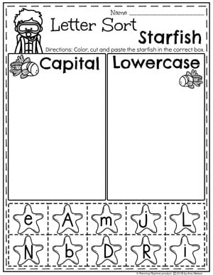 Preschool Ocean Worksheets - Capital or Lowercase Letter Sort #preschool #oceantheme #preschoolactivities #preschoolworksheets #planningplaytime #letterworksheets #alphabetworksheets