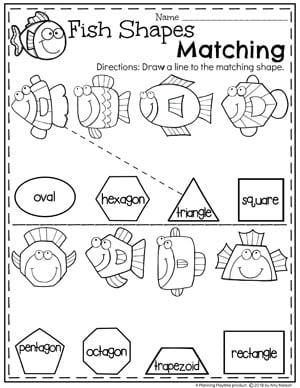 Preschool Shapes Worksheets - Fish Shapes #preschool #oceantheme #preschoolactivities #preschoolworksheets #planningplaytime #shapesworksheets