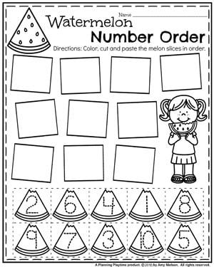 Summer Preschool Worksheets - Number Order #preschool #summerpreschool #preschoolprintables #preschoolworksheets #planningplaytime #preschoolmath