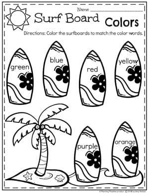 Summer Preschool Worksheets - Surfboard Colors #preschool #oceantheme #preschoolactivities #preschoolworksheets #planningplaytime #colors